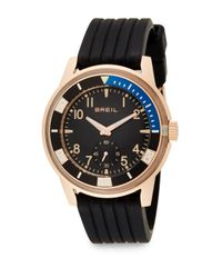 Breil - Pink Rose Goldtone Stainless Steel & Grooved Silicone Watch - Lyst