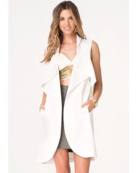 Bebe - White Sleeveless Trench Coat - Lyst