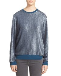 Equipment - Blue 'shane' Sequin Crewneck Sweater - Lyst