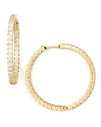 Roberto Coin | Metallic 38mm Yellow Gold Diamond Hoop Earrings | Lyst