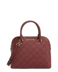 MICHAEL Michael Kors | Red 'medium Cindy' Dome Satchel | Lyst