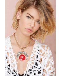 Nasty Gal - Red Fire Sign Necklace - Lyst