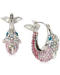 Betsey Johnson | Pink Silver-tone Pavé Dolphin Hoop Earrings | Lyst