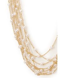 Forever 21 - Metallic Layered Faux Pearl Necklace - Lyst