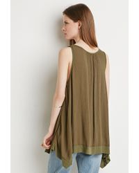 Forever 21 | Green Ribbed-hem Trapeze Tank | Lyst
