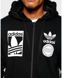 Adidas Originals - Black Zip Up Hoodie With Fleece Lining Ab8034 for Men - Lyst