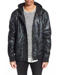 Azul By Moussy | Green Faux Leather Hooded Jacket for Men | Lyst