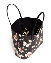Givenchy - Black 'antigona' Small Moth And Magnolia Print Canvas Tote - Lyst