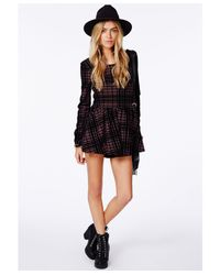 Missguided | Black Joaquina Loose Fit Romper In Flocked Check | Lyst