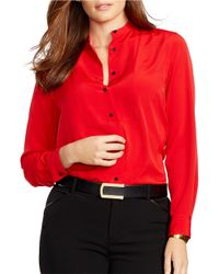 Lauren by Ralph Lauren | Red Plus Crepe Shirt | Lyst