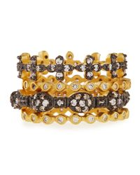 Freida Rothman | Metallic Set Of Four Mixed Cz Stackable Rings | Lyst