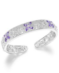 Macy's | Metallic Tanzanite (2 Ct. T.w.) And Diamond Accent Cuff Bracelet In Sterling Silver | Lyst