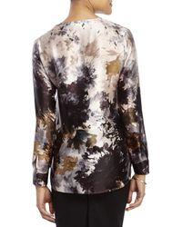 Les Copains - Pink Split V-Neck Floral Silk Blouse - Lyst