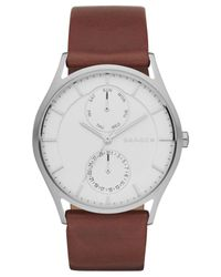 Skagen - Men's Holst Dark Brown Leather Strap Watch 40mm Skw6176 for Men - Lyst