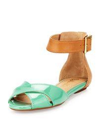 Splendid | Green Atlanta Twotone Anklestrap Sandal | Lyst