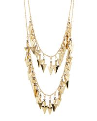 Panacea - Metallic Golden Hematite Pyramid Double-drop Necklace - Lyst
