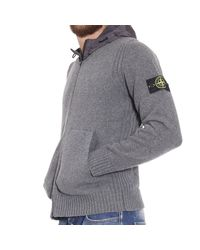 Stone Island | Gray Sweater Lambswool Cardigan With Hood for Men | Lyst