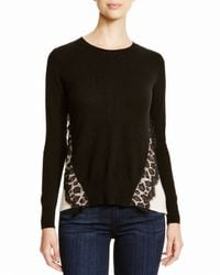 Aqua | Black Cashmere Cashmere Leopard Lace Two Tone Sweater | Lyst
