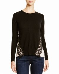 Aqua - Black Cashmere Cashmere Leopard Lace Two Tone Sweater - Lyst