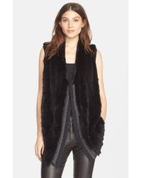 Vince - Black Sweater-Back Rabbit-Fur Vest - Lyst