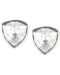 Givenchy | Metallic Silvertone Crystal Trillion Stud Earrings | Lyst