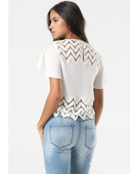Bebe - Natural Kayla Zigzag Trim Top - Lyst