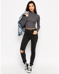 ASOS | Gray Turtle Neck Crop Top In Rib | Lyst