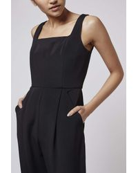 TOPSHOP - Black Crepe Jumpsuit By Boutique - Lyst