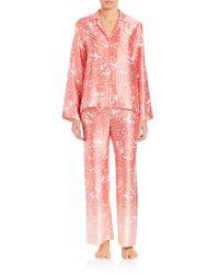 Oscar de la Renta | Pink Printed Satin Pajamas | Lyst