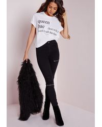 Missguided | Queen Bae Slogan T Shirt White | Lyst