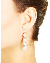Oscar de la Renta | White Pearl Pavé Trompe L'oeil Drop Earrings | Lyst