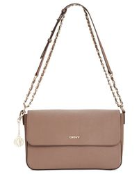 DKNY - Brown Bryant Park Saffiano Medium Flap Crossbody - Lyst