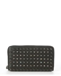 Valentino - Black Leather Spiked 'Rockstud' Zip Continental Wallet for Men - Lyst