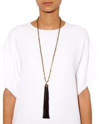 Zeus+Dione - Black Hematite Leather Tassel Necklace - Lyst