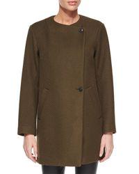 Theory - Green Venizka Camden Asymmetric Wool-blend Twill Coat - Lyst