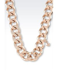 Emporio Armani | Metallic Necklace In Rose Gold-Plated Steel And Crystals | Lyst