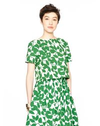 kate spade new york | Green Garden Leaves Poplin Crop Top | Lyst