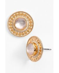 Anna Beck | Metallic Women'S 'Gili' Stud Earrings - Gold/ Rose Quartz | Lyst