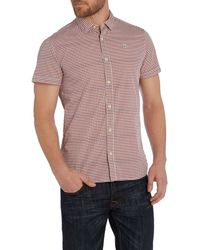 Duck and Cover | Red Gingham Classic Fit Short Sleeve Button Down Shir for Men | Lyst