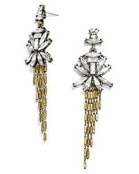 BaubleBar | Metallic 'gatsby' Fringe Drop Earrings - Clear/ Antique Gold | Lyst