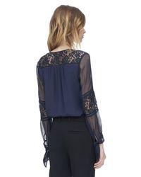 Rebecca Taylor Blue Silk & Lace Blouse