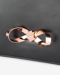 Ted Baker | Black Loop Bow Leather Clutch Bag | Lyst