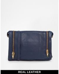 Becksöndergaard - Blue Leather Cross Body Bag with Zip Detail - Lyst