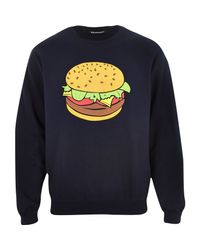 River Island - Blue Navy Burger Print Sweatshirt for Men - Lyst