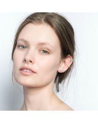 Astrid & Miyu   Metallic Crystal Armour Ear Cuff Rose Gold   Lyst