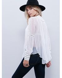 Free People | White Silver Soul Peasant Top | Lyst