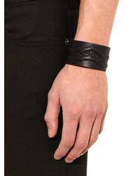 Alexander McQueen - Black Ribcage Leather Cuff for Men - Lyst