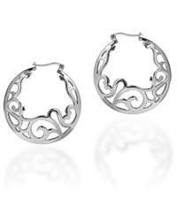 Aeravida - Metallic Delicate Filigree Swirl .925 Silver Hoop Earrings - Lyst