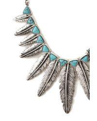 Forever 21 - Blue Feathered Fringe Choker - Lyst