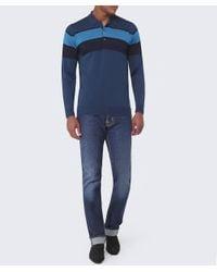 John Smedley | Blue Long Sleeve Pelton Stripe Polo Shirt for Men | Lyst